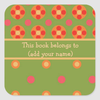 Retro Poppies and Polka Dot Sheet of 20 Bookplates Square Sticker