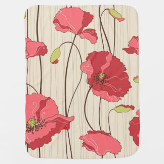 Retro Poppies Pattern Baby Blanket