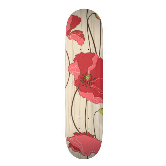 Retro Poppies Pattern 20 Cm Skateboard Deck