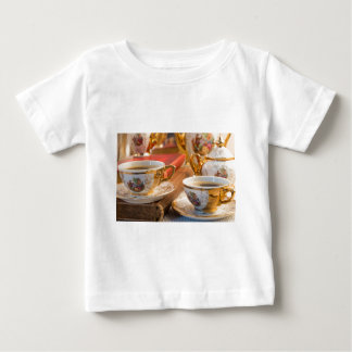 Retro porcelain coffee cups with hot espresso baby T-Shirt