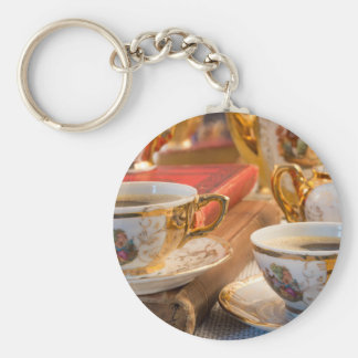 Retro porcelain coffee cups with hot espresso key ring