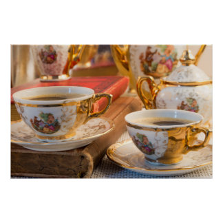 Retro porcelain coffee cups with hot espresso poster