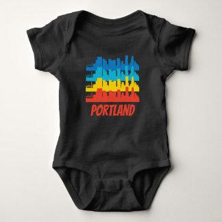 Retro Portland OR Skyline Pop Art Baby Bodysuit