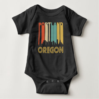Retro Portland Skyline Baby Bodysuit