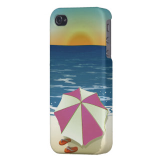 Retro Post Card Inspired Beach Scene iPhone 4/4S Cover