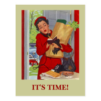 Retro Postcard Busy Lady Appointment Reminder PC