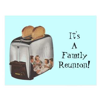 Retro Postcard Family Reunion Reflection Toaster