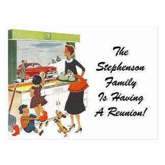 Retro Postcard Vintage Family Reunion Household