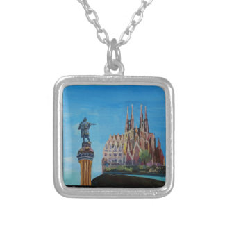 Retro Poster Barcelona Silver Plated Necklace