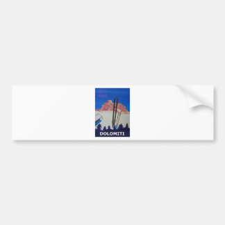 Retro Poster Dolomiti Italy at Sella Ronda Bumper Sticker