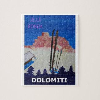 Retro Poster Dolomiti Italy at Sella Ronda Jigsaw Puzzle