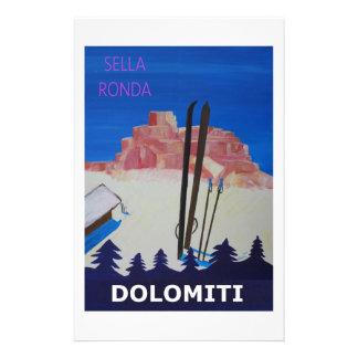 Retro Poster Dolomiti Italy at Sella Ronda Personalised Stationery