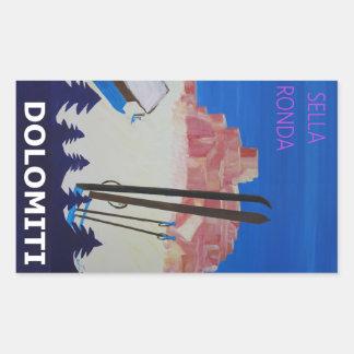 Retro Poster Dolomiti Italy at Sella Ronda Rectangular Sticker