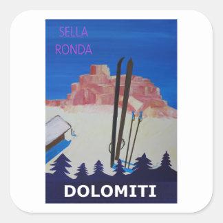 Retro Poster Dolomiti Italy at Sella Ronda Square Sticker