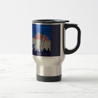 Retro Poster Dolomiti Italy at Sella Ronda Travel Mug