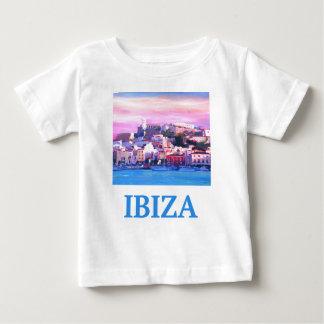 Retro Poster Ibiza Old Town and Harbour Baby T-Shirt