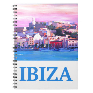 Retro Poster Ibiza Old Town and Harbour Notebook