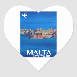 Retro Poster Malta Valetta  - City of Knights Heart Sticker