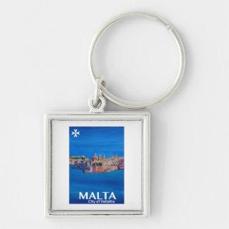 Retro Poster Malta Valetta  - City of Knights Key Ring