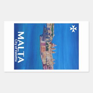 Retro Poster Malta Valetta  - City of Knights Rectangular Sticker