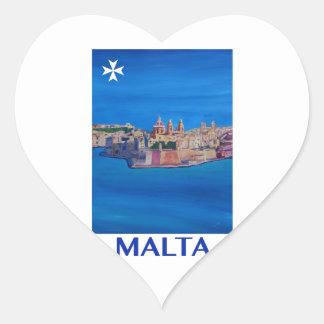 RETRO POSTER Malta Valetta City of KnightsII Heart Sticker