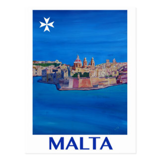 RETRO POSTER Malta Valetta City of KnightsII Postcard
