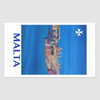 RETRO POSTER Malta Valetta City of KnightsII Rectangular Sticker