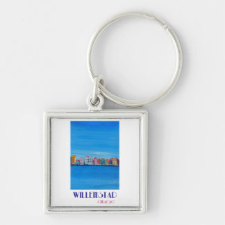 Retro Poster Willemstad Curacao Key Ring
