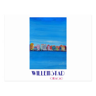 Retro Poster Willemstad Curacao Postcard