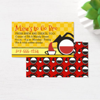 retro pouring coffee pot yellow chequerboard cafe business card