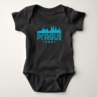 Retro Prague Skyline Baby Bodysuit