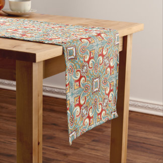 Retro Pretty Chic Red Teal Floral Mosaic Pattern Short Table Runner