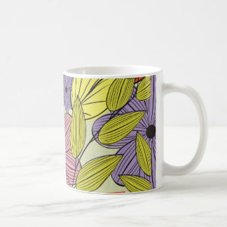 Retro Primitive Flower Drawing Coffee Mug