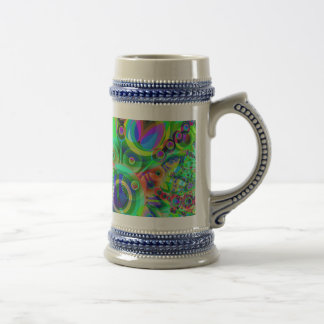 Retro Psychedelic Abstract Beer Steins