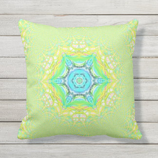 Retro Psychedelic Mint Pastel Mandala Pattern Outdoor Cushion