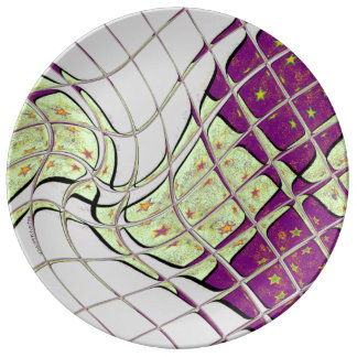 Retro Purple and Green Psychedelic Swirl Plate