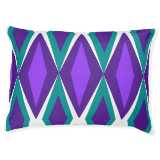 Retro Purple & Aqua Diamond Geo Pet Bed