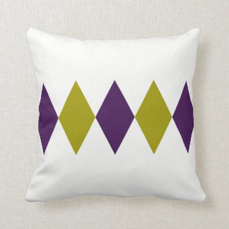 Retro Purple & Chartreuse Diamond Cushion