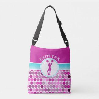 Retro Purple Circles Cheer / Pom by Golly Girls Crossbody Bag