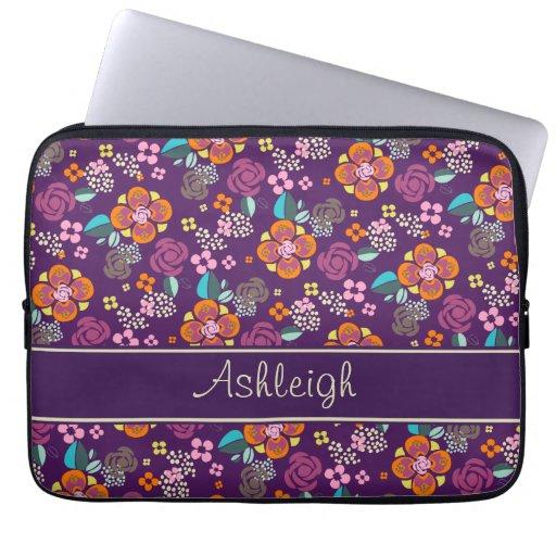 Retro Purple Floral Pattern Laptop Sleeve
