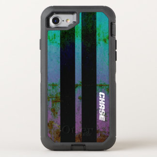 Retro Purple Green Muscle Car Stripes With Name OtterBox Defender iPhone 8/7 Case