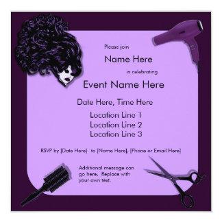 Retro Purple Hair Stylist Custom Invitations
