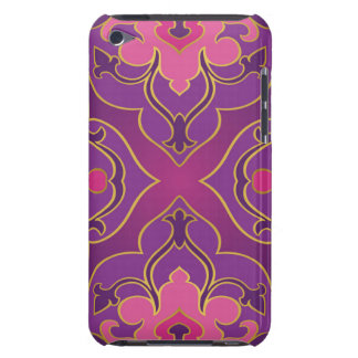 Retro,purple,hot pink, gold,floral,vintage,trendy, barely there iPod cover