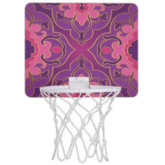 Retro,purple,hot pink, gold,floral,vintage,trendy, mini basketball hoop