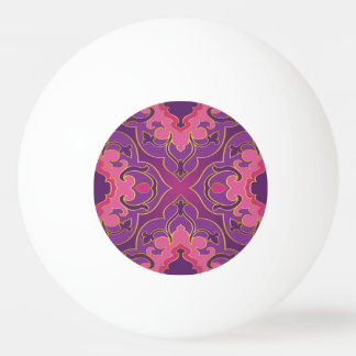 Retro,purple,hot pink, gold,floral,vintage,trendy, ping pong ball
