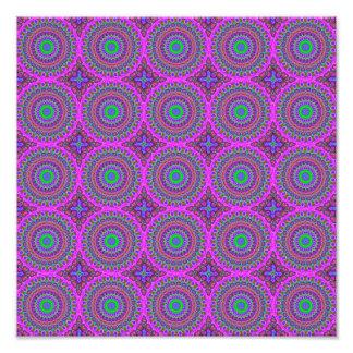 Retro Purple Pattern Fractal Art Photographic Print