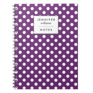 Retro Purple Polka Dots Pattern Notebooks