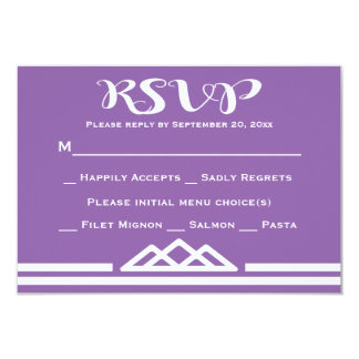 Retro Purple RSVP Geometric Triangle Tribal 9 Cm X 13 Cm Invitation Card