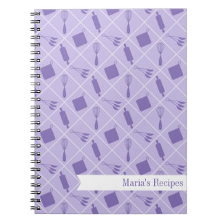 Retro Purple Utensils Recipe Notebook