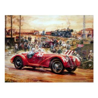 Retro racing car painting postcard